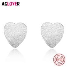 Small Frosted Heart Pure 925 Sterling Silver Screw Stud Earrings For Women Girls Children Baby Kids Mini Minimalist Jewelry
