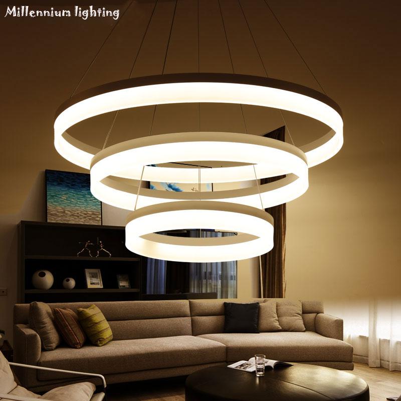Modern LED Chandelier ceiling Restaurant 30cm45cm60cm/98W dimmable Light indoor Acrylic Chandelier Living Room Bedroom fixtures