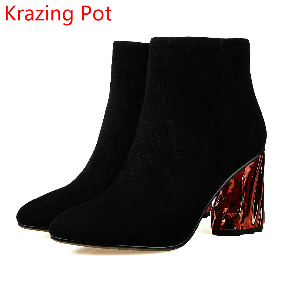 Superstar Sheep Suede Pointed Toe Crystal High Heels Zipper Woman Winter Shoes Runway Mixed Color Fashion Runway Ankle Boots L92 fanyuan women square heel ankle boots woman pointed toe buckle strap shoes mixed color zipper heels shoes woman size 32 42