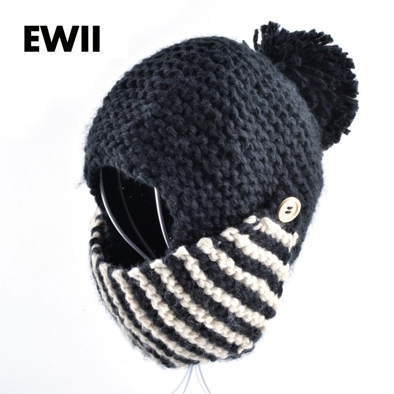 2015 Moda Inverno Russia Balaclava Bomber Donna Cappello A Mano A Maglia Cappellini Maschera Per Il Viso Cappelli Per La Donna Negozio Online