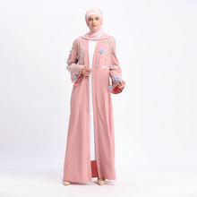 Мусульманская абайя для женщин кардиган платье с вышивкой 3d