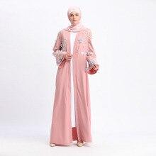 Muslim Abaya For Womens Cardigan Dress Embroidery 3D Stereoscopic Floral Turkey Maxi Ramadan  Long