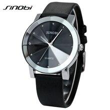 Sinobi moda para hombre relojes de pulsera correa de cuero top luxury brand hombres ginebra reloj de cuarzo ocasional impermeable montres hommes