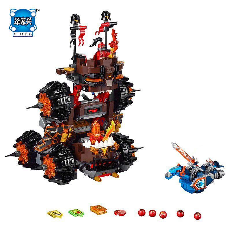 E Nexo Knights General Magmars Siege Machine of Doom Building Blocks Kits Toys Compatible Bela DIY Nexus TOY Gift knights of sidonia volume 6