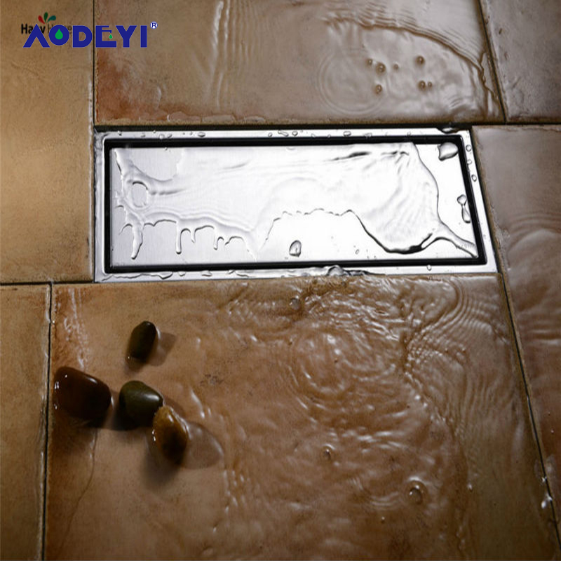 AODEYI Drain Brushed Nickel Solid 304 Stainless Steel Square Anti-Odor Linear Floor Drain Bathroom Invisible Shower Floor Drain free shipping wholesale and reatil nickel brushed finished stainless steel floor drain