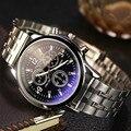 Relojes hombre 2016 yazole mens relógios cinta de aço inoxidável blue-ray vidro luminosa ponteiro negócio relógio de quartzo reloj hombre
