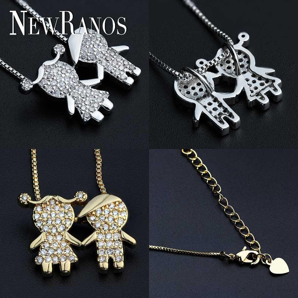 Newranos, ожерелье с кулоном для мальчиков и девочек, кубический цирконий, семейное ожерелье, Женская фигурка, ювелирное изделие для женщин, модное ювелирное изделие PGY046
