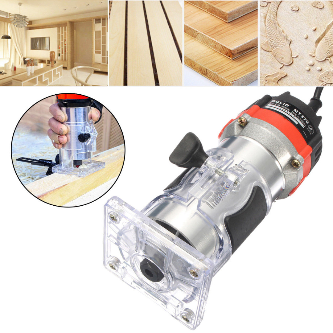 DWZ 220V 35000RPM 530W 1/4'' Electric Hand Trimmer Wood Laminator Router Tool Set