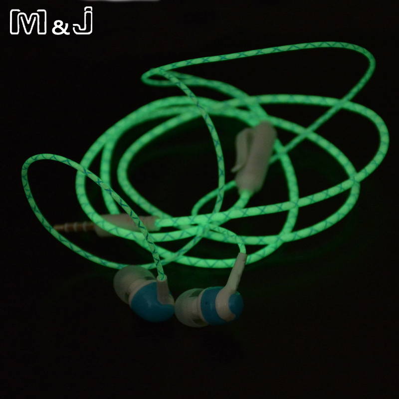 Hot Glow In The Dark Earbus Cool Led Auricolare Luminoso Neon Headset con microfono Night Lighting per iPhone Samsung Xiaomi