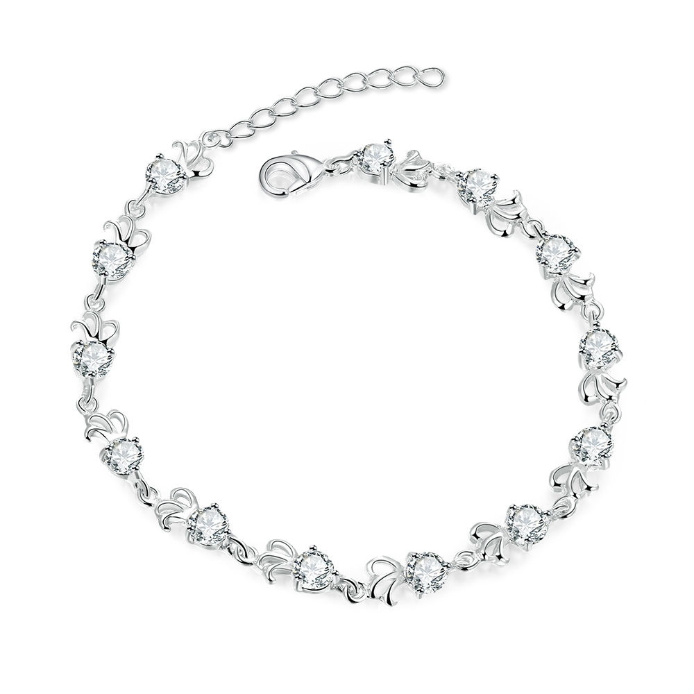 Korea Stylish Pure 925 Sterling Silver Woman Bangles Bracelets Top Grade CZ font b Crystal b
