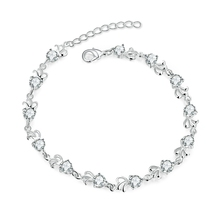 Korea Stylish Pure S90 Silver Woman Bangles Bracelets Top Grade CZ Crystal Real Cubic Zircon Woman