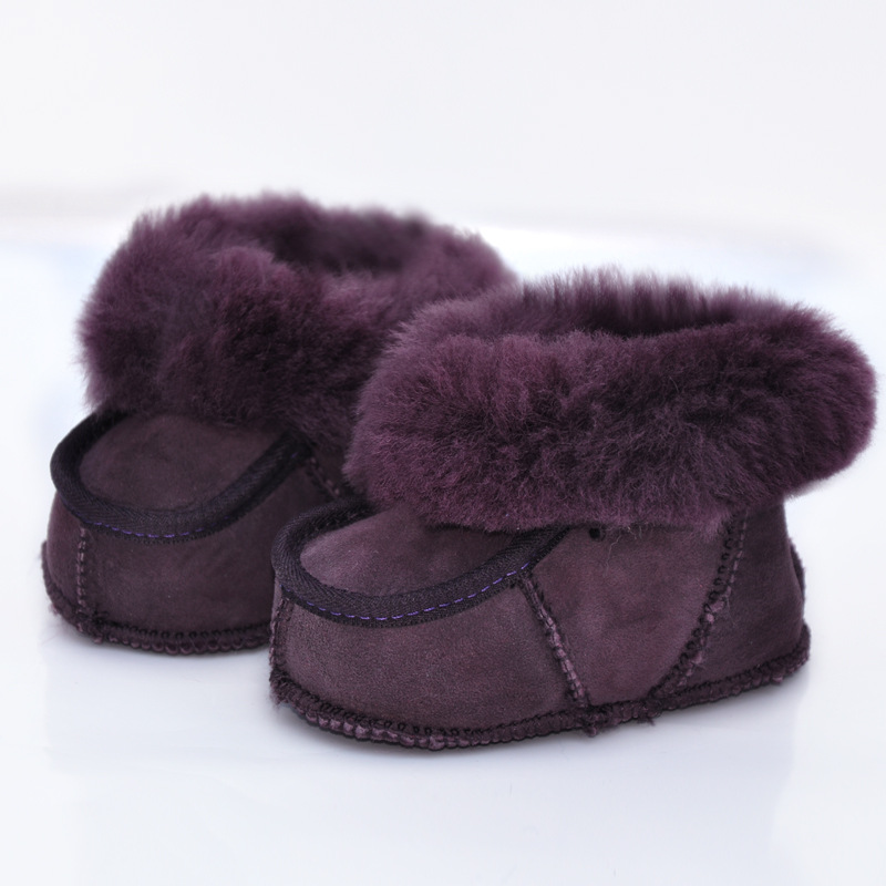 New Winter Colorful Handmade Sheep Fur Baby Shoes 0-1 Years Old Genuine Leather Toddler Snow Boots Warm Soft Baby Moccasins