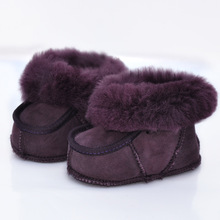 New Winter Colorful Handmade Sheep Fur Baby Shoes 0-1 Years