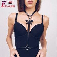 Fullyoung Women Leather Harness Fashion Punk Bra Top Belt Body Bondage Chest Straps Black Garter Goth