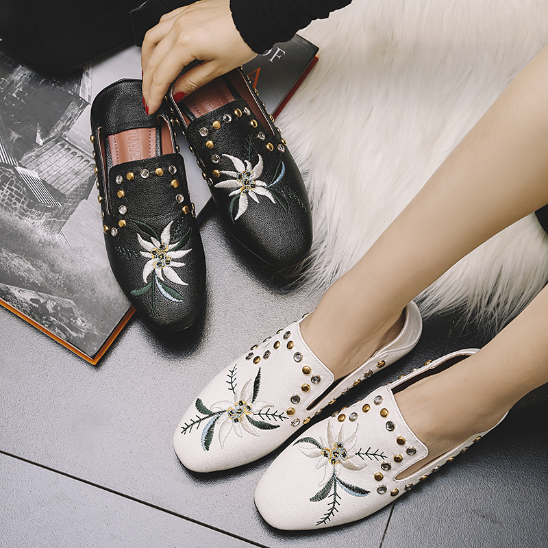 40 Conception Dames Broder Appartements Cristal Rivets white Chaussures 42 Femme Taille Mocassins Strass Floral Espadrilles Black 41 wAdTqw