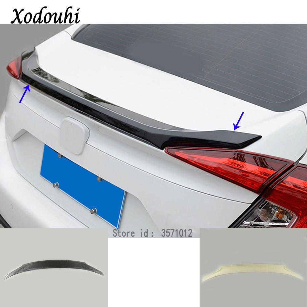 Car body ABS chrome Rear tail Spoiler side triangle wing window bezel trim Stick For Honda Civic 10th Sedan 2016 2017 2018