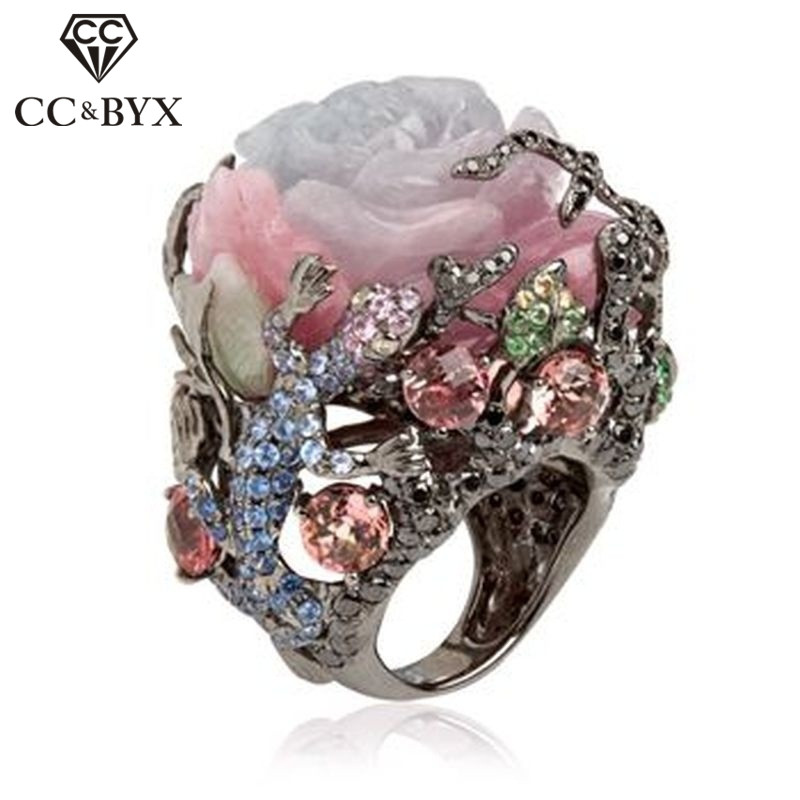 CC Vintage Jewelry Rings For Women Peony Flower Tree Vine Lizard Black Gold Color Luxury Ring Party Gift Drop Shipping CC2211(China)