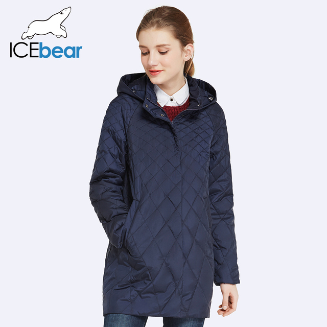 ICEbear 2017 Шляпа Съемная Тонкий Хлопок Твердые Длинные Женщины Пальто Новая Мода Осень Леди Куртки 17G201D