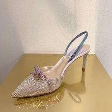 Sweet Pink Crystal Bowtie Slingback Sandals For Women Pointed Toe Cut-out Ladies Wedding Shoes Bride Thin Heels