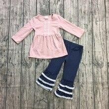 Mới đến mùa xuân Mùa Đông bé cô gái trang phục trẻ em màu hồng quần áo ruffles hải quân quần boutique trẻ em mặc cotton Girlymax SỐ 2