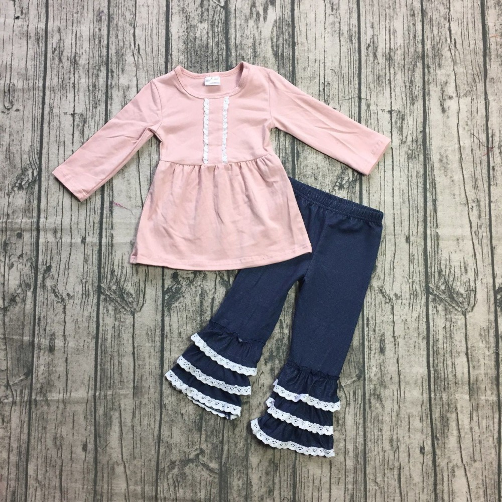 new arrivals spring Winter baby girls outfits pink children clothes ruffles navy pants boutique kids wear cotton Girlymax NO.2-in Clothing Sets from Mother & Kids