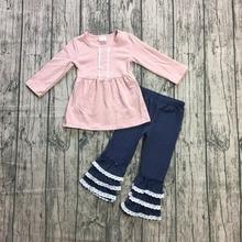สินค้าใหม่ฤดูใบไม้ผลิฤดูหนาวชุดเด็กทารกสีชมพูเด็กเสื้อผ้า ruffles navy กางเกง boutique เด็กสวมใส่ผ้าฝ้าย Girlymax เบอร์ 2