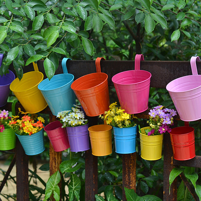 10 Pcs Garden Pots Plant Flower Hanging Holders Balcony Bucket Pot Wall Basin Detachable