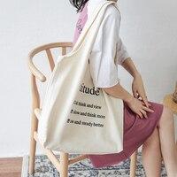 Women Cotton Bags Canvas Bags Ladies Shopping Canvas Bag Female Folding Shoulder Bag Handbag Tote Letter Printing Large Capacity Shoulder Bags