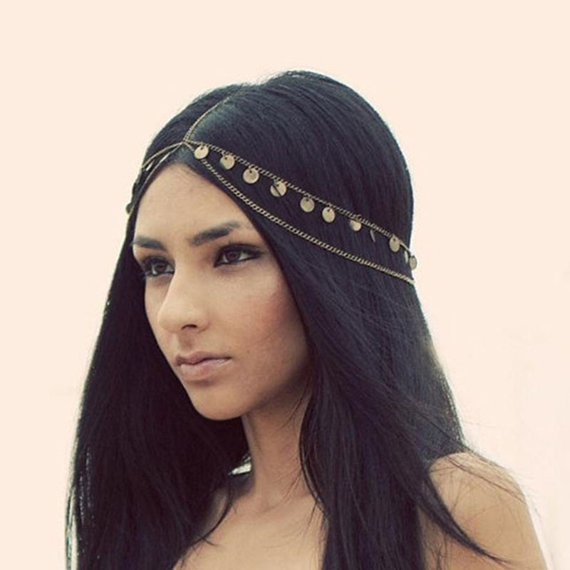 Classic Multi layered Gold Hair Jewelry Round Sequins Head Chain Fashion For Women Headband T001