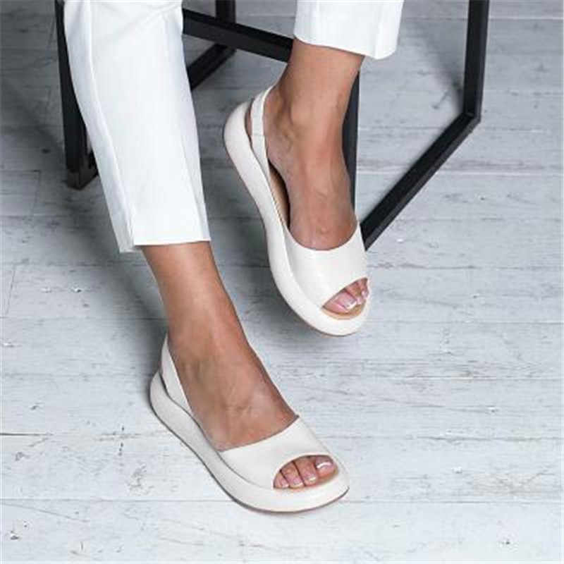 2019 קיץ טריזי סנדלי אופנה סקסי בוהן פתוח פלטפורמת מעלית נשים סנדלי נעליים בתוספת גודל 34-43 משאבות ורוד לבן