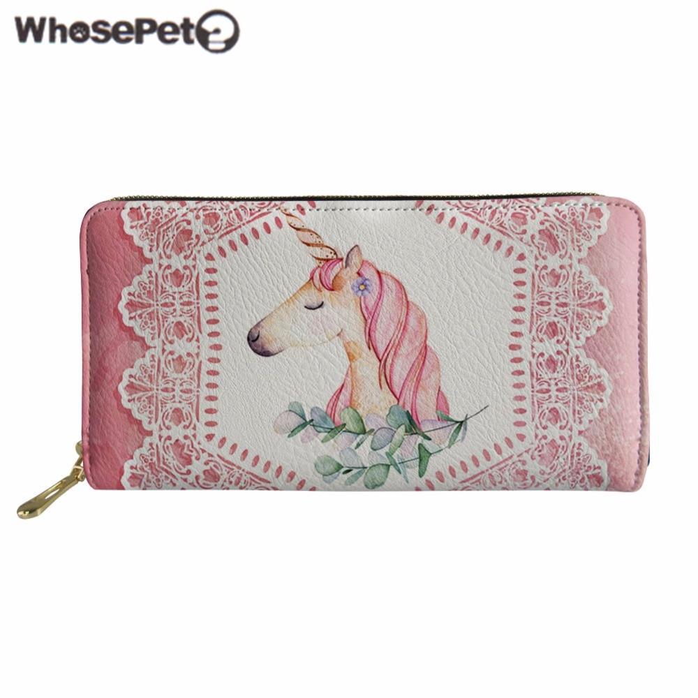 WHOSEPET Women Purse Unicorn Print Leather Wallet Female Coin Purse Long Style Zipper Wallets Ladies PU Money Bag Clutch Bags все цены