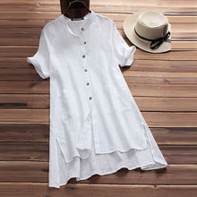 2019 new casual ladies dress raglan sleeves summer Womens clothing button pocket cotton and linen