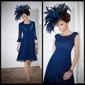 Azul Royal 2017 Mãe Dos Vestidos de Noiva A Linha de Chiffon laço Curto Vestidos de Festa de Casamento Vestido de Mãe Para O Casamento Com jaqueta