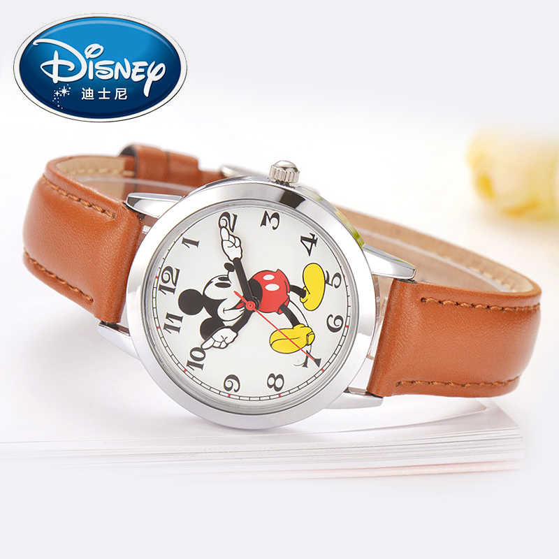 Disney women Mickey mouse pretty girl love gift charming leather quartz round watch female kids watches