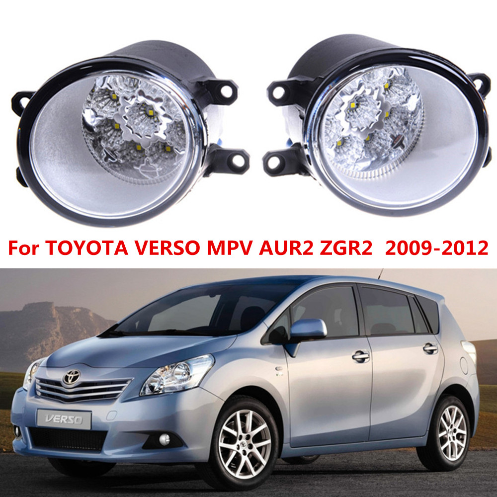 For TOYOTA VERSO MPV AUR2 ZGR2  2009-2012 Car styling LED fog Lights high brightness fog lamps 1set for lexus rx gyl1 ggl15 agl10 450h awd 350 awd 2008 2013 car styling led fog lights high brightness fog lamps 1set