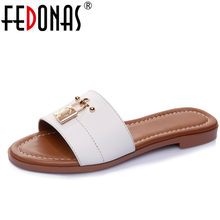 FEDONAS Women Genuine Leather Shoes Women Flips Flops Summer Shoes Woman Low Heeled Comfort Casual Shoes Ladies Slippers Sandals(China)