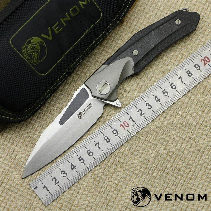 KEVIN JOHN VENOM ATTACKER Folding Ball bearing Flipper Knife M390 Titanium carbon fiber camp hunt survival