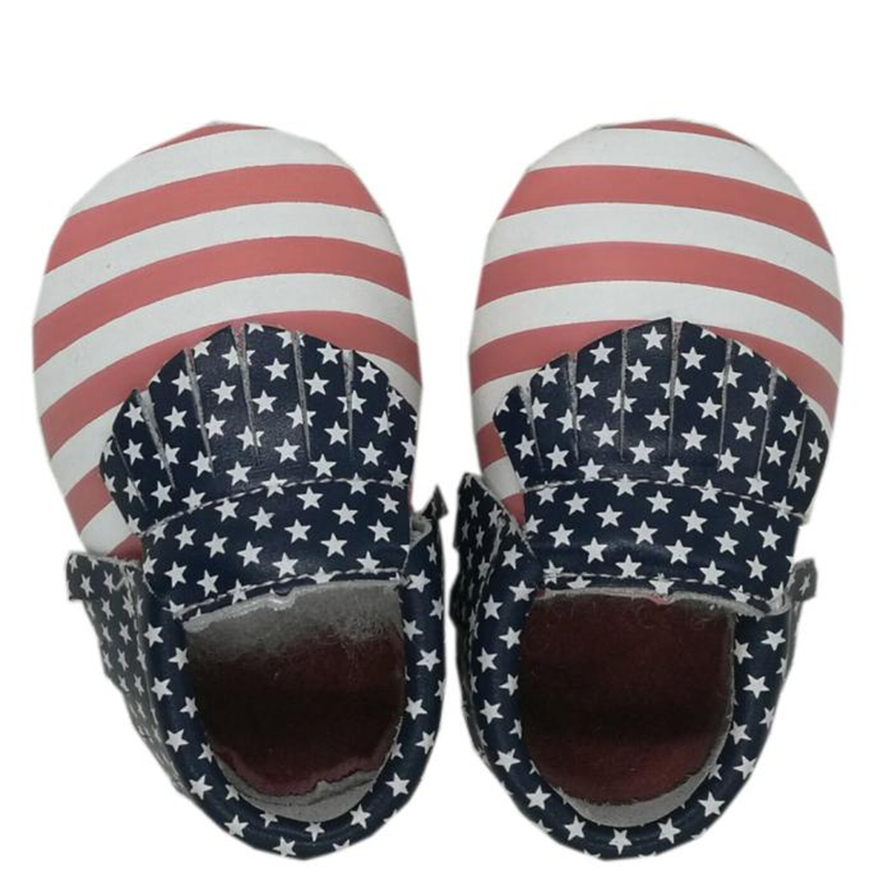 Baby Toddler Splice Moccasin Stars Print Stripe Tassel Leather Shoes Prewalker Anti-Slip First Walker Simple Baby Shoes 17Dec29