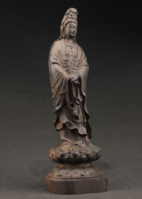 Chinau0027s Large Decorative Manual Old Ebony Wood Carving Of The Statue Of Kuan  Yin