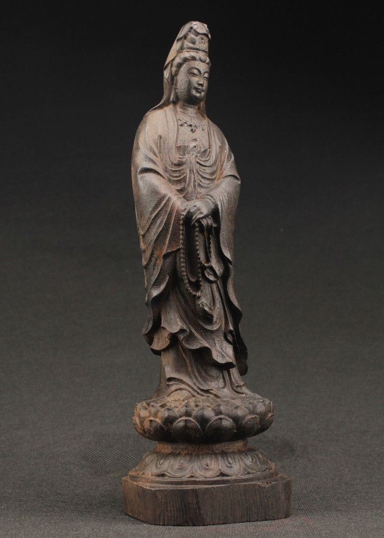 De la chine grand décoratif manuel vieux ebony sculpture sur bois de la statue de kuan Yin