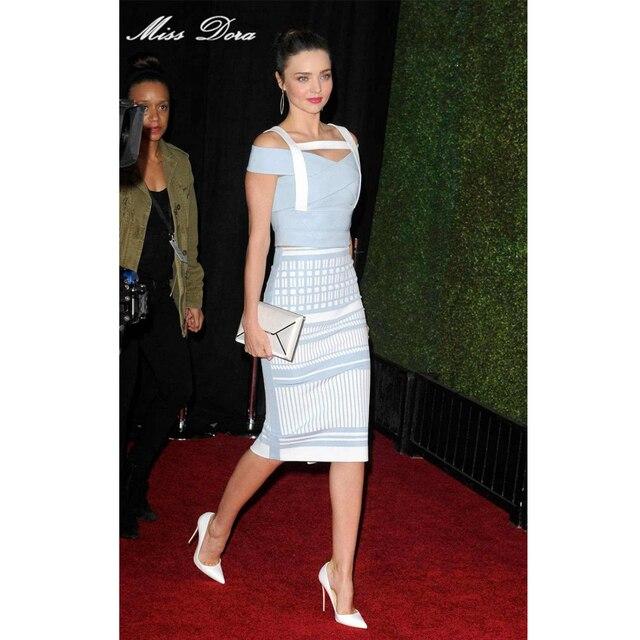 2016 Sexy Miranda Kerr Jacquard weave strap Knee Length Blue Rayon HL 2  Piece Bandage Dress Elegant Knitted Ladies Fashion Dress 3863ab71269c