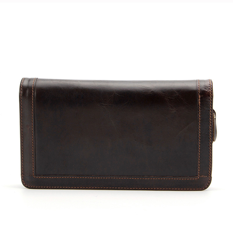 crazy horse Double Zipper Men Clutch Bag Genuine Leather Wallet Men New Brand Wallet Male Long Wallets Purses carteira masculina 2017 new brand mens wallet double zipper genuine leather bag vintage solid clutch bag phone cases male coins purses wallet