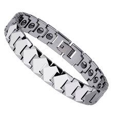 Nueva moda de tungsteno blanco pulseras de piedra magnética de plata brillante tonos 10 mm ancho para el hombre longitud 18.5 / 19.5 / 21 envío gratis