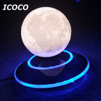 ICOCO Magnetic Levitation 3D Moon Lamp Home Decorative Moon Light Floating Bedroom Bookcase Night Lamp Romantic