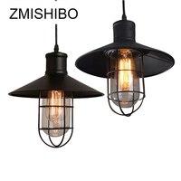 ZMISHIBO Vintage Iron Pendant Lamp Black 110V 220V Diameter 27CM Glass Cover Grid With ST64 Carbon