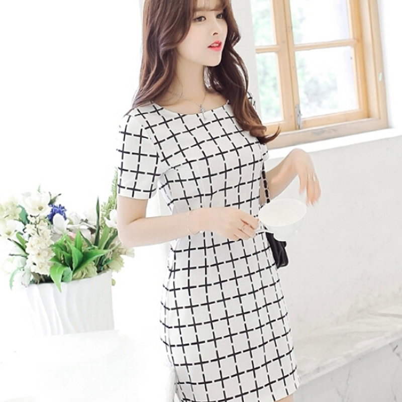 2018 summer womens white plaid dress girls round neck short-sleeved dresses ladies stripes elegant beach dress vestido de faste