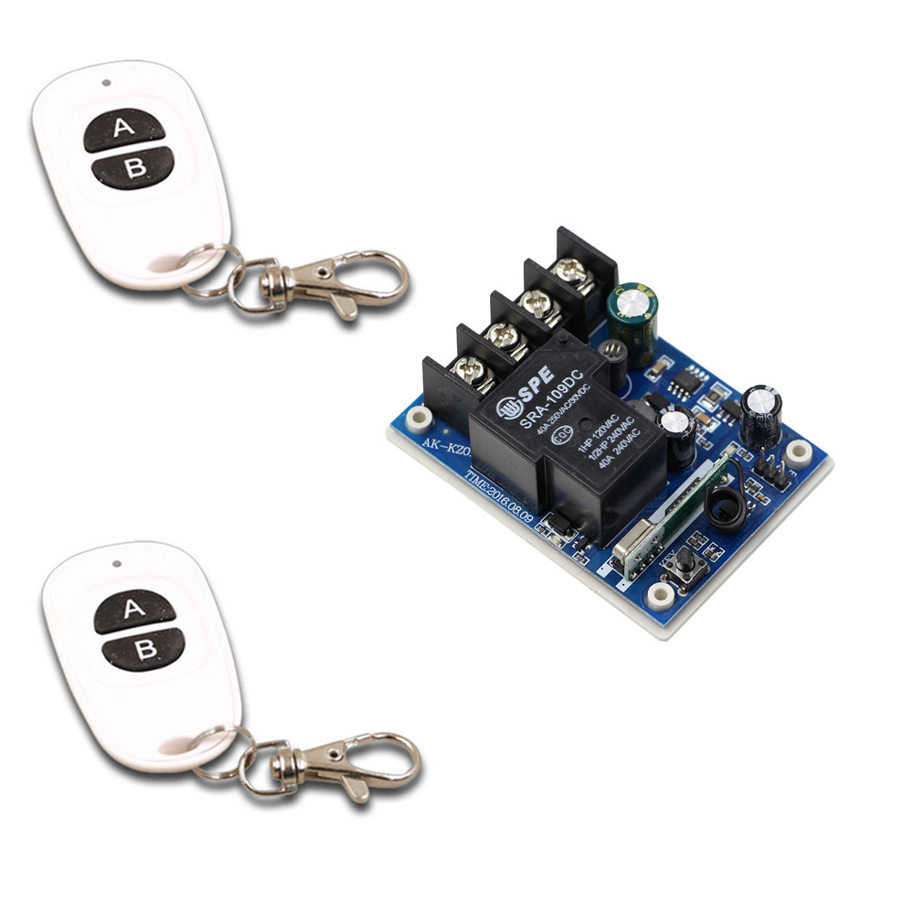 DC 12V 14V 15V 16V 18V 24V 36V 48V Relay Module 40A Receiver Wireless Remote Control Switch Remote Transmitter Learning Code dc 12v 24v 36v 48v wireless remote control switch 40a relay receiver 86 wall transmitter learning code 315 433 92 mhz