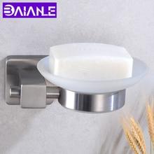 купить Bathroom Soap holder Shower Stainless Steel Soap Dish Storage Holder Toilet Wall Mounted Glass Soap Dishes Box Bath Accessories по цене 1484.96 рублей