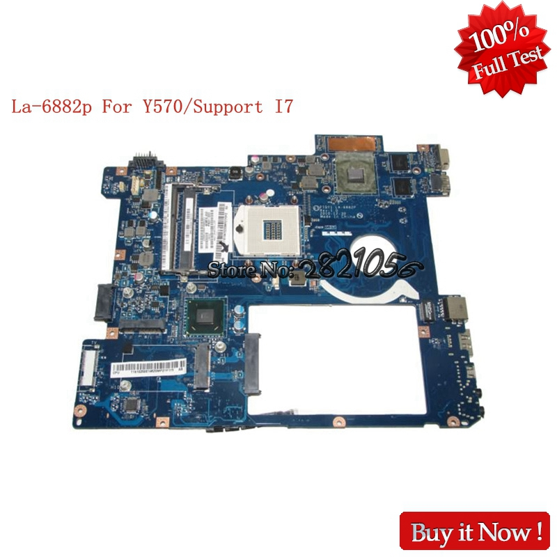 NOKOTION PIQY1 LA-6882P Laptop Motherboard for lenovo Y570 HM65 N12P-GT1-A1 ddr3 pga989 100% Tested piqy1 la 6882p main board for lenovo y570 laptop motherboard hm65 ddr3 gt555m 2gb video card 100