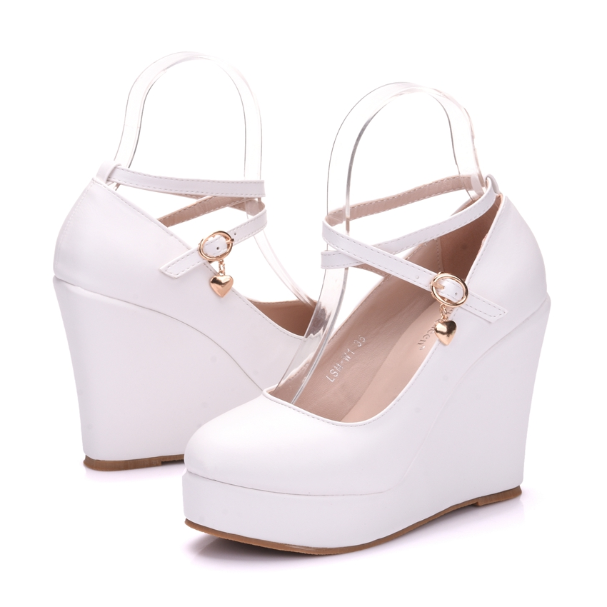 Image 5 - Crystal Queen White Platform Wedges Shoes Pumps Women High Heels Platform Shoes Round Toe Wedges Pumps Cross Tie Wedges Heels-in Women's Pumps from Shoes